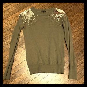 Express Green and Gold Sequin Sweater